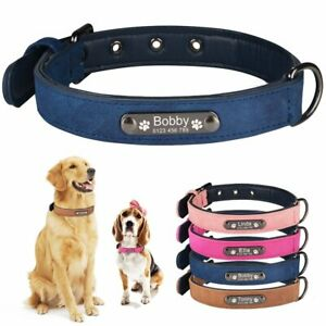 Leather Personalised Dog Collar Custom Engraved Name ID Small Medium Large Pet