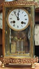 ANTIQUE FRENCH ORNATE SERPENTINE CRYSTAL REGULATOR MANTLE CLOCK SIGNED BY H&H