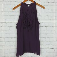 INC International Concepts Womens Sz 14 Sleeveless Ruffled Silk Top Lined Purple