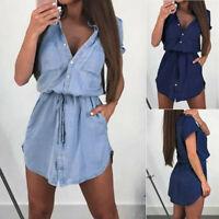 New Women  Short Sleeve Denim Mini Dress Ladies Button V Neck Summer Shirt Dress