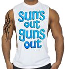 Suns Out Guns Out Muscle White Workout Vest Tank Top Fitness Beast Gym Tee