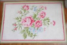 Corsage & Peonies Shabby Pink Roses Blue Floral Hand Hooked Floor Rug Mat Chic