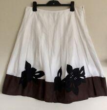 KATIES Womens Skirt 14  White A Line Floral Hem Appliqué EC