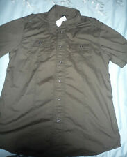 New Jr Boys Sz L Helix Casual button down shirt dk army green Nwt