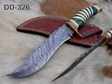 Damascus steel Foot long hunting knife, Sliced rose wood & engraved brass Sheath