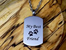 Mans Best Friend Cremation Urn Necklace for Ashes Dog Pet Cat Mens Memorial Gift