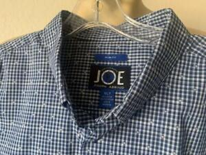 JOE JOSEPH ABBOUD Men's Blue Checked Long Sleeve Shirt Size XLT $90 NWOT