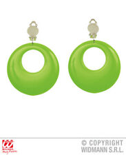 Neon Green Circle Earrings 80S 90S Party Rave Fancy Dress Jewellery Accessory