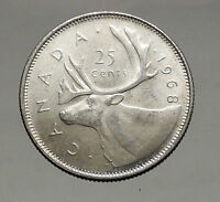 1968 CANADA United Kingdom Queen Elizabeth II Silver 25 Cent Coin CARIBOU i56898