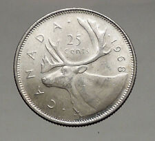 1968 CANADA United Kingdom Queen Elizabeth II Silver 25 Cent Coin CARIBOU i56898