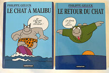 """2 BD PHILIPPE GELUCK """"LE CHAT A MALIBU"""" ET """" LE RETOUR DU CHAT"""""""