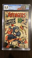 Avengers 4 cgc 5.5 First Captain America In The Silver Age WHITE PAGES RARE!