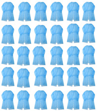 Ppe Disposable Protective Isolation Gowns Suit Blue Elastic Cuffs 10pcs / 30pcs