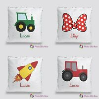 Personalised Sequin Cushion/Mermaid/Magic Reveal /Tractor or Bow Design & Name