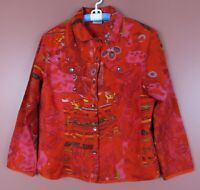 TB05572- CHICO'S Womens 100% Silk Blouse Pocket Multi-Color Geo Sz 2 M L MINT