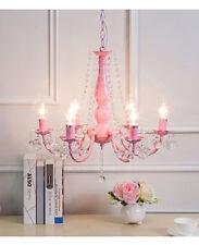 Princess Pink Pastoral 6 Light Arms Hanging Romantic Bedroom Crystal Chandelier
