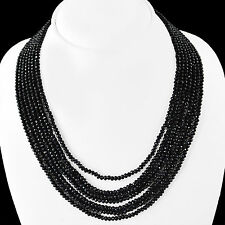 FABULOUS 240.00 CTS NATURAL 7 STRAND RICH BLACK SPINEL FACETED BEADS NECKLACE