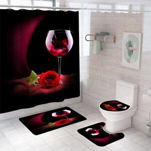 Red Rose Shower Curtain Bathroom Rug Set Bath Mat Non-Slip Toilet Lid Cover