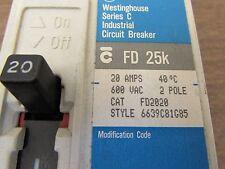 WESTINGHOUSE FD2020 2 Pole 20 Amp 600V Thermal Magnetic FD Breaker