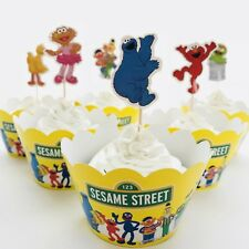 12x Sesame Street Cupcake Topper + Wrapper. Party Supplies Loot Bag Elmo Cookie