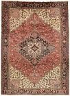 Vintage Persìan Heriz 8'x12' Red Wool Tribal Hand-Knotted Oriental Rug