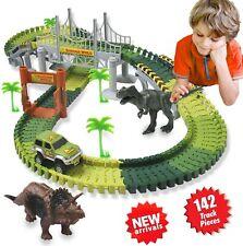 Autorennbahn Rennbahn für Kinder Dinosaurier Spielzeug Flex Tracks Geschenk neu