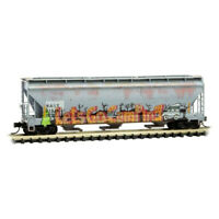 North American Car 3Bay Covered Hopper Weathered & Graffiti MTL#09444650 N-Scale