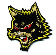 Black cat patch badge halloween retro rockabilly psychobilly tattoo hot rod