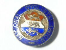 More details for victorian 1898 solid silver enamel button badge national cyclists union #2050a