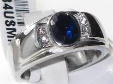 SIGNET 1184 MENS STAINLESS STEEL RING SIMULATED DIAMONDS SAPPHIRE SIGNET PINKY