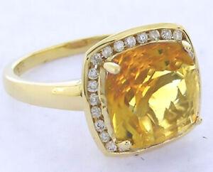 R211 Genuine 9K or 18K Gold Natural Cushion Citrine Diamond Halo Ring in yr size