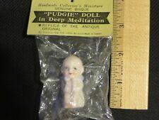 """Vintage Shackman Bisque Miniature """"Pudgie"""" (Kewpie) Doll In Deep Meditation Nip"""