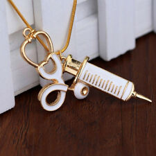 Medical Stethoscope Charm Syringe Pendant Necklace Alloy Chain Women Jewelry