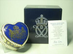 1900-2000 Royal Crown Derby HEART BOX Queen Mother Limited Edition + Box +COA