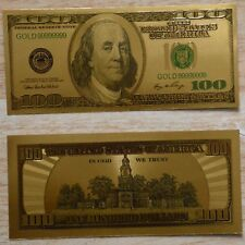 1pc American Gold Foil Banknotes $100 Dollars Paper Money Bills Home Art Collect