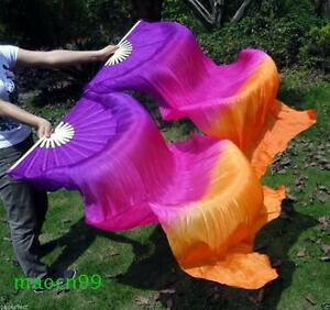 1 pair(left+right) 100% silk belly dance fan veil purple/red/orange (1.5m 1.8m)