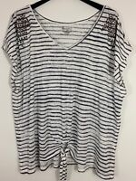 Lane Bryant Burnout Shirt 26/28 Front Knot V-Neck Striped White Studded