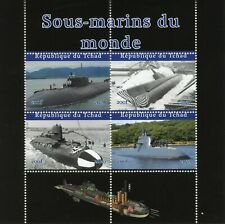 Chad Military Ships Stamps 2020 CTO Submarines of the World 4v M/S