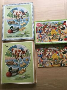 Two vintage Victory wooden jigsaw puzzles complete