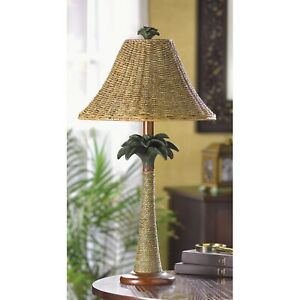 woven wicker grass RATTAN Palm Tree tropical bedside end Table Lamp shade