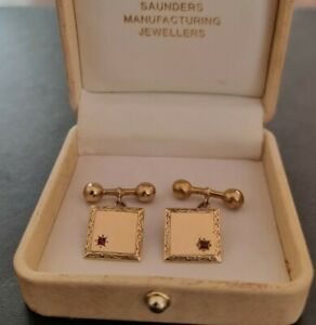 Saunders Jewellers Solid 9ct Gold Cufflinks with Ruby | Stamped | Original box
