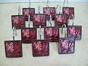 Designer Resin/metal Burgundy Brown Flower Shower Curtain Hooks Rings Set of 12