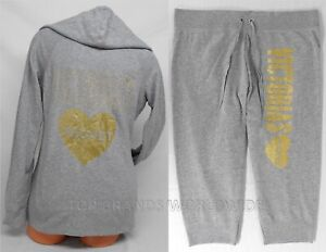 Victoria's Secret Hoodie & Sweat Pants Set Supermodel Glitter Capri Large Gray