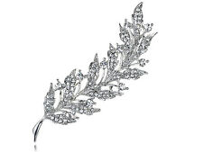 Shiny Lady Feather Leaf Clear Crystal Rhinestone Sliver Tone Holiday Pin Brooch