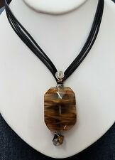 Tiger's Eye Glass Pendant Necklace Handcrafted