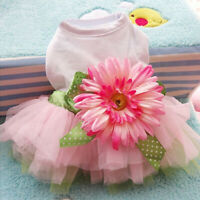 JW_ Pet Dog Daisy Flower Gauze Tutu Dress Skirt Puppy Cat Princess Clothes Swe