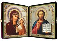 Wedding Travel Russian Icon Diptych Velvet Case Matching Icons Madonna and Child