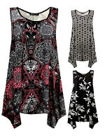 Womens Plus Size Vest Top Ladies Printed Black Pink T shirt Blouse New UK 20