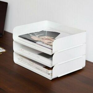 Office Filing Trays Letter Rack Desk Organiser Paper A4 Document Holder White