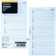 Filofax 130201 Personal Size Contacts Name Address Refill 95mmx171mm Pack Of 20